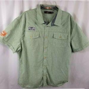 Akoo Men 3XL Short Sleeve Plaid Button Front Green